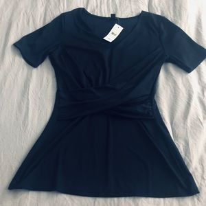 Ann Taylor Navy Wrap Front Top